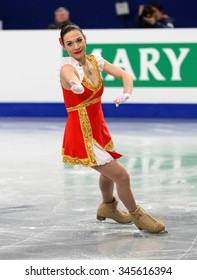 BUDAPEST, HUNGARY - JANUARY 15, 2014: Alena LEONOVA of Russia performs short program at ISU European Figure Skating Championship in Syma Hall Arena.