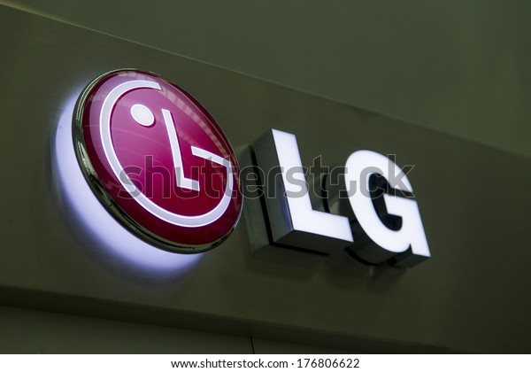 BUDAPEST, HUNGARY - JANUARY 15, 2014: Sign at the LG shop in Budapest. LG is  multinational conglomerate corporation founded in 1947 at Busan, South Korea.