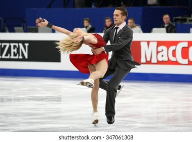 BUDAPEST, HUNGARY - JANUARY 16, 2014: Isabella TOBIAS / Deividas STAGNIUNAS perform free dance at ISU European Figure Skating Championship in Syma Hall Arena.