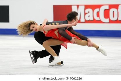 BUDAPEST, HUNGARY - JANUARY 16, 2014: Gabriella PAPADAKIS / Guillaume CIZERON of France perform free dance at ISU European Figure Skating Championship in Syma Hall Arena.
