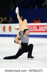 BUDAPEST, HUNGARY - JANUARY 16, 2014: Sara HURTADO / Adria DIAZ of Spain perform free dance at ISU European Figure Skating Championship in Syma Hall Arena.
