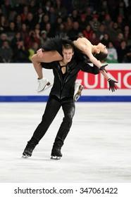 BUDAPEST, HUNGARY - JANUARY 16, 2014: Elena ILINYKH / Nikita KATSALAPOV of Russia perform free dance at ISU European Figure Skating Championship in Syma Hall Arena.