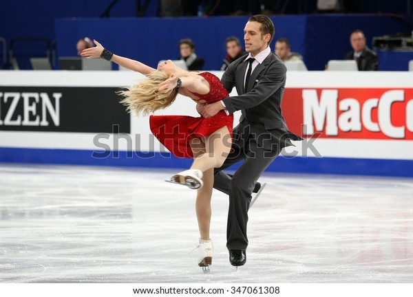 BUDAPEST, HUNGARY - JANUARY 16, 2014: Isabella TOBIAS / Deividas STAGNIUNAS perform free dance at ISU European Figure Skating Championship in Syma Hall Arena.