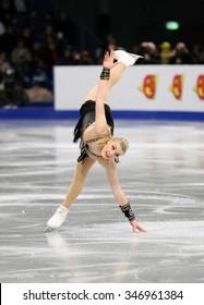 BUDAPEST, HUNGARY - JANUARY 17, 2014: Joshi HELGESSON of Sweden performs free program at ISU European Figure Skating Championship in Syma Hall Arena.