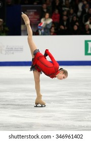 BUDAPEST, HUNGARY - JANUARY 17, 2014: Julia LIPNITSKAIA of Russia performs free program at ISU European Figure Skating Championship in Syma Hall Arena.