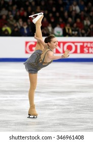 BUDAPEST, HUNGARY - JANUARY 17, 2014: Adelina SOTNIKOVA of Russia performs free program at ISU European Figure Skating Championship in Syma Hall Arena.