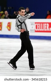 BUDAPEST, HUNGARY - JANUARY 18, 2014: Javier FERNANDEZ of Spain performs free program at ISU European Figure Skating Championship in Syma Hall Arena.