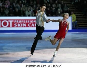 BUDAPEST, HUNGARY - JANUARY 19, 2014: Tatiana VOLOSOZHAR / Maxim TRANKOV perform during the exhibition gala at ISU European Figure Skating Championship in Syma Hall Arena.