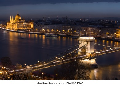 Budapest Hungary  January 22, 2019 Aerial view of buildings, Danube river and and Chain bridge in old city Budapest at winter time