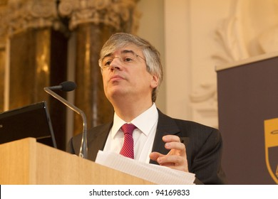 """BUDAPEST, HUNGARY - JANUARY 26: Dr. Takis Tridimas, London Sch. of Economics speaks at the Conference """"The European Constitutional Area"""" org. at ELTE University on Jan. 26, 2012, Budapest. Hungary."""
