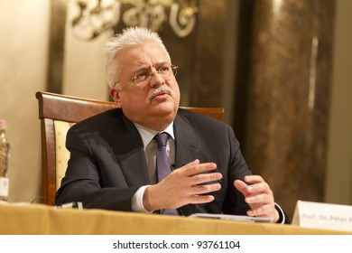 "BUDAPEST, HUNGARY - JANUARY 27: Peter Paczolay, President of Hungarian Constitutional Court on the Conference ""The European Constitutional Area"" org. by Max Planck Inst. & ELTE Univ. on 01/27/ 2012. Budapest"