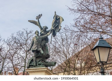 BUDAPEST, HUNGARY - January  29, 2020: Monument of the War of Indipendence 1848-49 made by Gyorgy Zala Disz ter Castle district. Hungary. Budapest