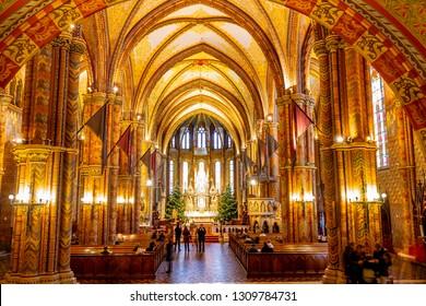 BUDAPEST, HUNGARY - January 5, 2019:  Beautiful Interior of Matthias Church in Budapest, Hungary.