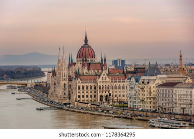 Budapest, Hungary- January 9, 2018: Parliament building in Budapest, Hungary