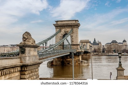 Budapest, Hungary- January 9, 2018: Chain Bridge between Buda and Pest on the river Danube, Hungary