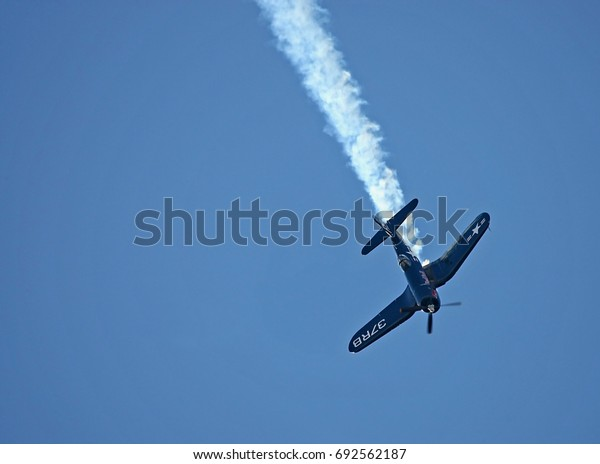 BUDAPEST, HUNGARY - JUL 01, 2017: Air show of the Red Bull Air Race World Championship 2017 - F4U Corsair