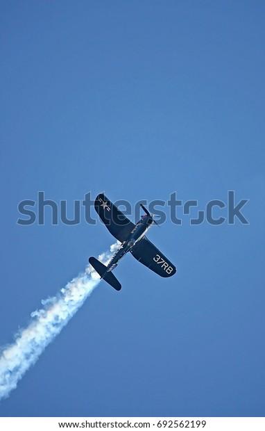 BUDAPEST, HUNGARY - JUL 01, 2017: Air show of the Red Bull Air Race World Championship 2017 - F4U Corsair