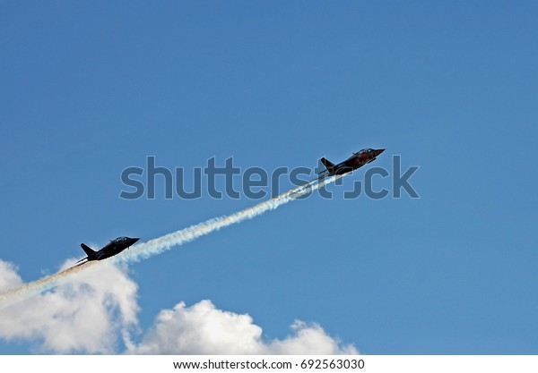 BUDAPEST, HUNGARY - JUL 01, 2017: Air show of the Red Bull Air Race World Championship 2017 - Alpha Jet