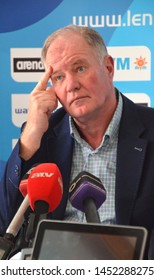Budapest, Hungary - Jul 13, 2014. Dénes Kemény (President of the Hungarian Water Polo Federation) on the press conference of the LEN Waterpolo European Championship.