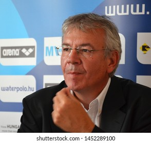 Budapest, Hungary - Jul 13, 2014. Aleksandar Sostar (LEN Bureau Member) on the press conference of the LEN Waterpolo European Championship was held in the Alfred Hajos Swimming Centre.
