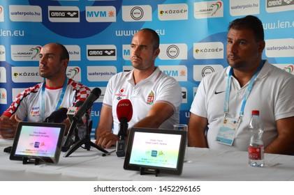 Budapest, Hungary - Jul 13, 2014. Head coaches Ivica Tucak (Croatia), Tibor Benedek (Hungary) and Dejan Savic (Serbia) on the press conference of the LEN Waterpolo European Championship.