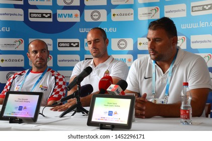 Budapest, Hungary - Jul 13, 2014. Head coaches Ivica Tucak (Croatia), Tibor Benedek (Hungary) and Dejan Savic (Serbia)​ on the press conference of the LEN Waterpolo European Championship.