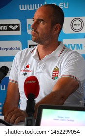 Budapest, Hungary - Jul 13, 2014. Tibor Benedek (Head Coach, Hungary) on the press conference of the LEN Waterpolo European Championship which was held in Alfred Hajos Swimming Centre in 2014.