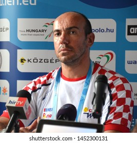 Budapest, Hungary - Jul 13, 2014. Ivica Tucak (Head Coach, Croatia) on the press conference of the LEN Waterpolo European Championship which was held in Alfred Hajos Swimming Centre in 2014.