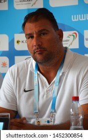Budapest, Hungary - Jul 13, 2014. Dejan Savic (Head Coach, Serbia) on the press conference of the LEN Waterpolo European Championship which was held in Alfred Hajos Swimming Centre in 2014.