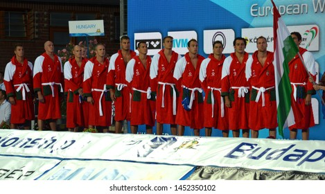 Budapest, Hungary - Jul 14, 2014. The hungarian waterpolo team listen the national anthem. The Waterpolo European Championship was held in Alfred Hajos Swimming Centre in 2014