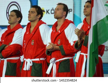 Budapest, Hungary - Jul 14, 2014. MADARAS Norbert, Gor-Nagy Miklos, Nagy Viktor and Varga Daniel (team Hungary). The Waterpolo European Championship was held in Alfred Hajos Swimming Centre in 2014
