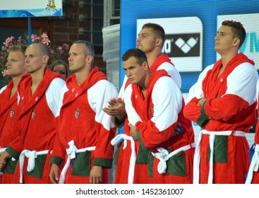 Budapest, Hungary - Jul 14, 2014. TOTH Marton, VARGA Denes, SZIVOS Marton, DECKER Adam, HOSNYANSZKY Norbert and VAMOS Marton. The Waterpolo European Championship was held in Budapest.