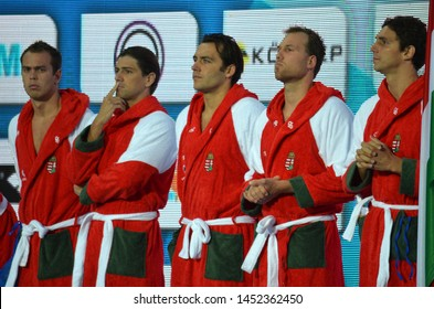 Budapest, Hungary - Jul 14, 2014. ERDELYI Balazs, MADARAS Norbert, GOR-NAGY Miklos, NAGY Viktor and VARGA Daniel. The Waterpolo European Championship was held in Alfred Hajos Swimming Centre in 2014.