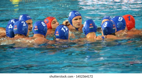 Budapest, Hungary - Jul 14, 2014. Hungarian team shout their battle-cry at the start. The Waterpolo European Championship was held in Alfred Hajos Swimming Centre in 2014.