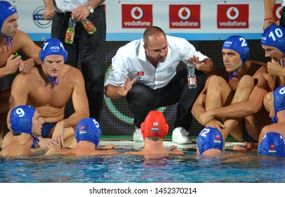 Budapest, Hungary - Jul 14, 2014. BENEDEK Tibor head coach and the hungarian men waterpolo team in the break. LEN Waterpolo European Championship was held in Alfred Hajos Swimming Centre in 2014.