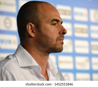 Budapest, Hungary - Jul 14, 2014. Tibor Benedek (Hungary) head coach talking after Spain-Hungary preliminary match. The Waterpolo European Championship was held in Alfred Hajos Swimming Centre in 2014