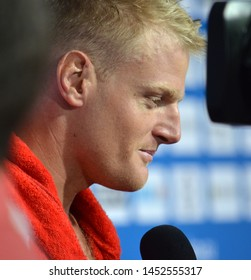 Budapest, Hungary - Jul 14, 2014. TOTH Marton (Hungary) player talking after Spain-Hungary preliminary match. The Waterpolo European Championship was held in Alfred Hajos Swimming Centre in 2014.