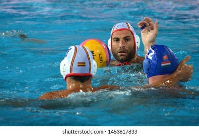 Budapest, Hungary - Jul 14, 2014. GARCIA GADEA Javier (ESP, 11) with the ball.The Waterpolo European Championship was held in Alfred Hajos Swimming Centre in 2014.