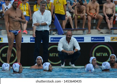 Budapest, Hungary - Jul 14, 2014. BRUZZO Florian head coach and the french men waterpolo team in the break. LEN Waterpolo European Championship was held in Alfred Hajos Swimming Centre in 2014.