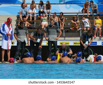 Budapest, Hungary - Jul 14, 2014. SAVIC Dejan head coach and the serbian men waterpolo team in the break. LEN Waterpolo European Championship was held in Alfred Hajos Swimming Centre in 2014.