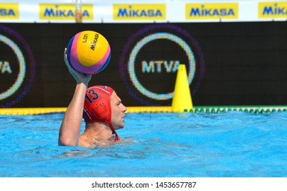 Budapest, Hungary - Jul 14, 2014. MITROVIC Branislav (SRB, 13) goalkeeper with the ball. Waterpolo European Championship was held in Alfred Hajos Swimming Centre in 2014.