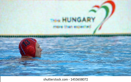 Budapest, Hungary - Jul 14, 2014. MITROVIC Branislav (SRB, 13) goalkeeper. Waterpolo European Championship was held in Alfred Hajos Swimming Centre in 2014.