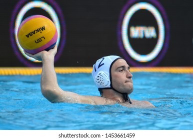 Budapest, Hungary - Jul 14, 2014. CAMARASA Alexandre (FRA, 12) with the ball. Waterpolo European Championship was held in Alfred Hajos Swimming Centre in 2014.