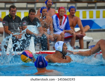Budapest, Hungary - Jul 14, 2014. MARZOUKI Mehdi (FRA, 9) with the ball. Waterpolo European Championship was held in Alfred Hajos Swimming Centre in 2014.