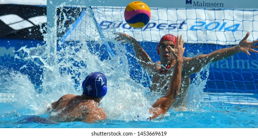 Budapest, Hungary - Jul 14, 2014. Serbia defending against France Waterpolo Team. Waterpolo European Championship was held in Alfred Hajos Swimming Centre in 2014.