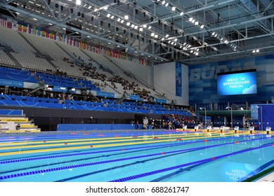 Budapest, Hungary - Jul 14, 2017. Inside the Duna Arena, the home of swimming and diving competitions during the FINA Swimming World Championships.