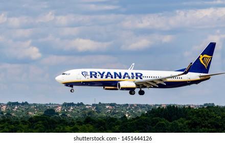 Budapest Hungary Jul 14 2019: Rayanair Airline Boeing 737  EI-FRG just landing at Budapest International airport.