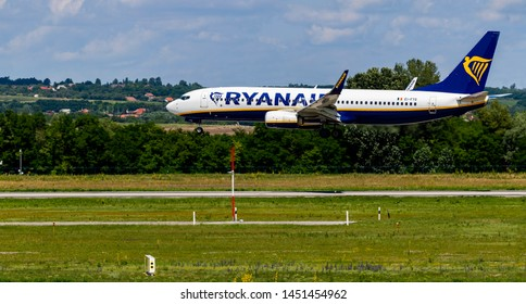 Budapest Hungary Jul 14 2019: Rayanair Airline Boeing 737 EI-FTG  just landing at Budapest International airport.