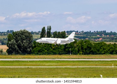 Budapest Hungary Jul 14 2019: Private Learjet P4-GVI  just landing at Budapest International airport.