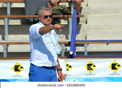 Budapest, Hungary - Jul 15, 2014.  Alessandro Campagna head coach talking about strategy to the italian team. The Waterpolo European Championship was held in Alfred Hajos Swimming Centre in 2014.